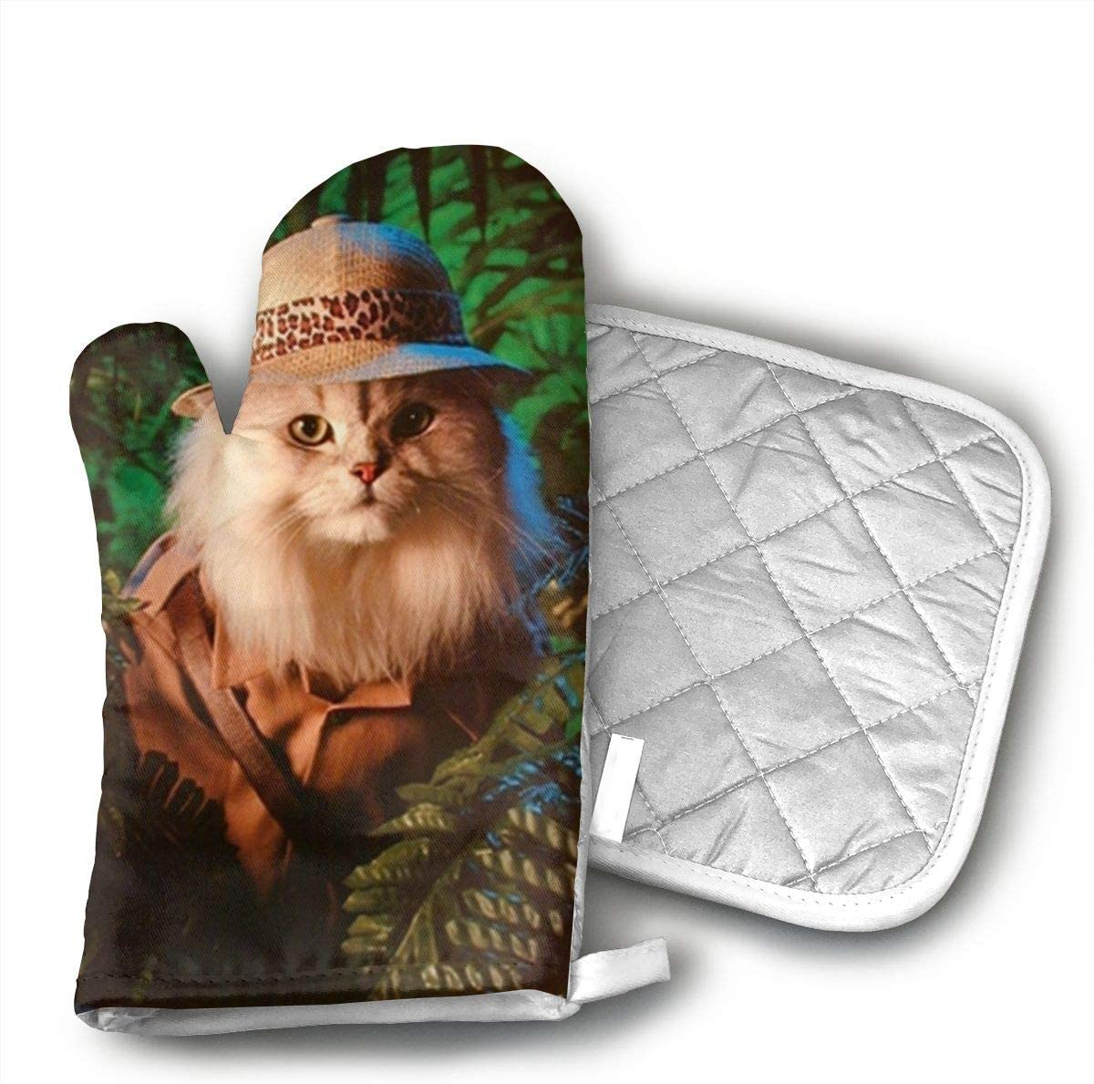 CHWEYAQ Safari Cat Cute Funny Kittens Animal Art Print Cotton Heat Resistant Double Oven Mitts/Gloves Potholder Extra for Kitchen Cooking Baking