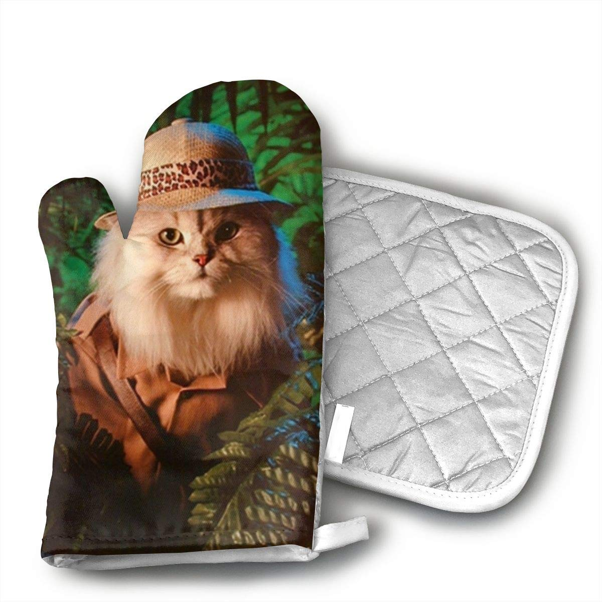HAIQLK Safari Cat Cute Funny Kittens Animal Art Print Oven Mitts with Quilted Cotton Lining - Heat Resistant Kitchen Gloves, Matching Mini Oven Mitts