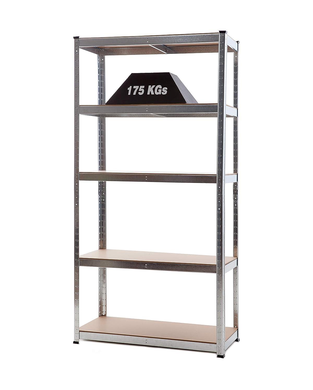 Racking Solutions - Rayonnage / étagère garage Galvanisé, charges lourdes, capacité de charge totale 875kg (5niveaux 1800mm H x 900mm L x 400mm P) + Livraison Gratuite Shefl Rack