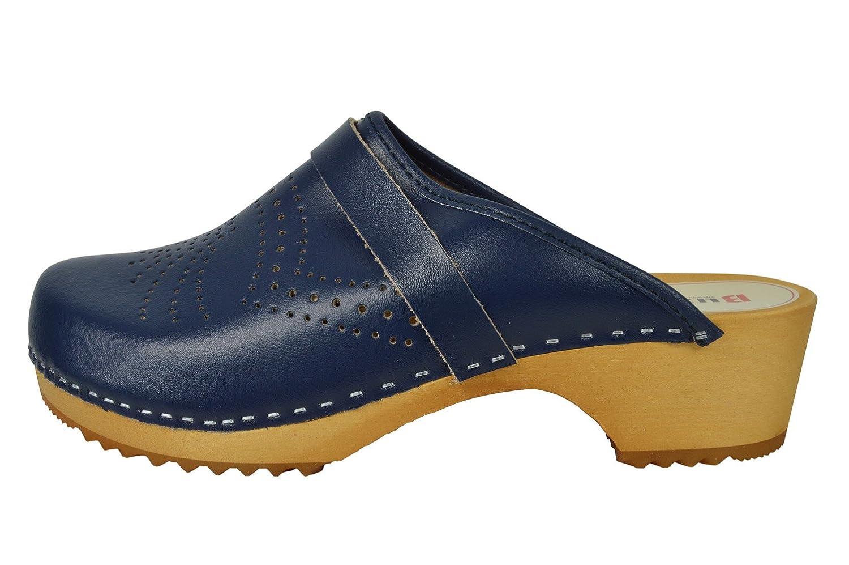 Buxa Unisex Denim Blau Holz und Leder Clogs mit Polsterung, Größe 41