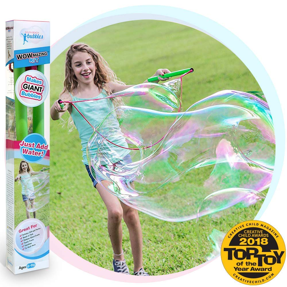 WOWMAZING Giant Bubble Wands Kit: (3-Piece Set)   Incl. Wand, Big Bubble Concentrate and Tips & Trick Booklet   Outdoor Toy for Kids, Boys, Girls   Bubbles Made in The USA (Kit)