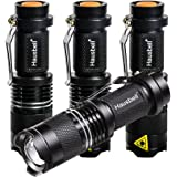 Flashlights, Hausbell 7W Flashlight LED Flashlight Tactical Flashlight Atomic Beam Flashlight Torch Adjustable Focus Zoomable with Luminous Ring (4 packs)