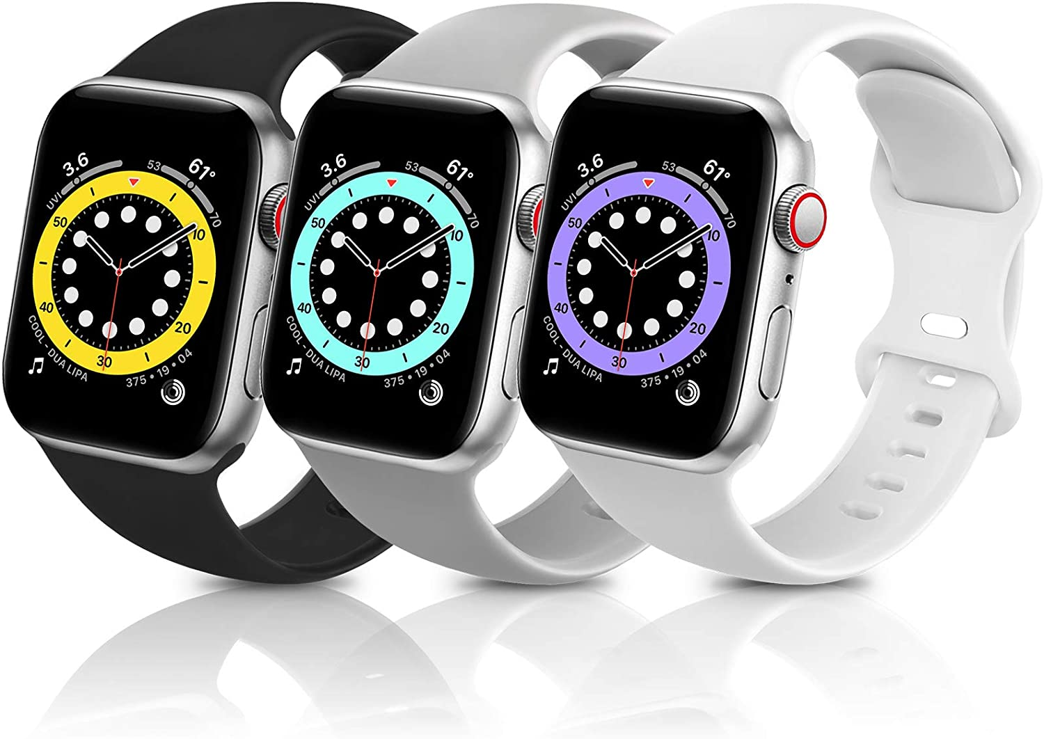 ZALAVER Bands Compatible with Apple Watch Band 38mm 40mm, Soft Silicone Sport Replacement Band Compatible with iWatch Series 6 5 4 3 2 1 Women Men Black/Gray/White 38mm/40mm S/M