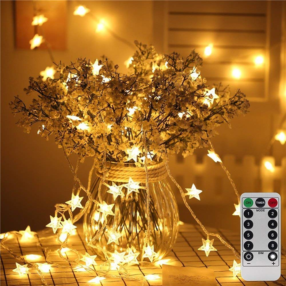 34ft Outdoor Star Shape Lights LED Warm White Twinkle Lights & USB Powered &Transparent String Cable & Remote Adapter by Rymbo