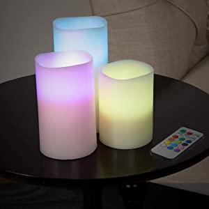 Lavish Home 72-0030C 3 Piece LED Color Changing Flameless Candle Setwith Remote