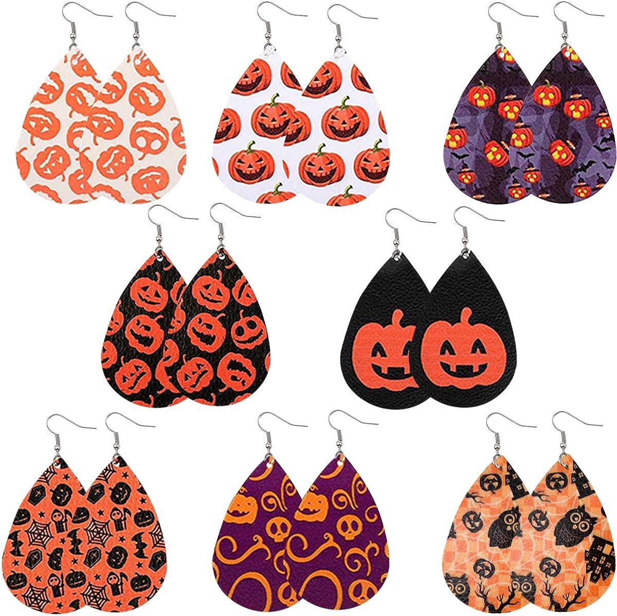 Faux Leather earrings embroidered vinyl earrings teardrop light weight dangle Halloween pumpkin Jack o lantern orange black chevron