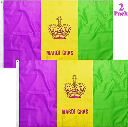 Boao 2 Piezas Bandera de Corona de Mardi Gras Bandera de Reina Corona de Rey Bandera de Nylon Poliéster para Decoración de Fiesta Carnaval: Amazon.es: Juguetes y juegos