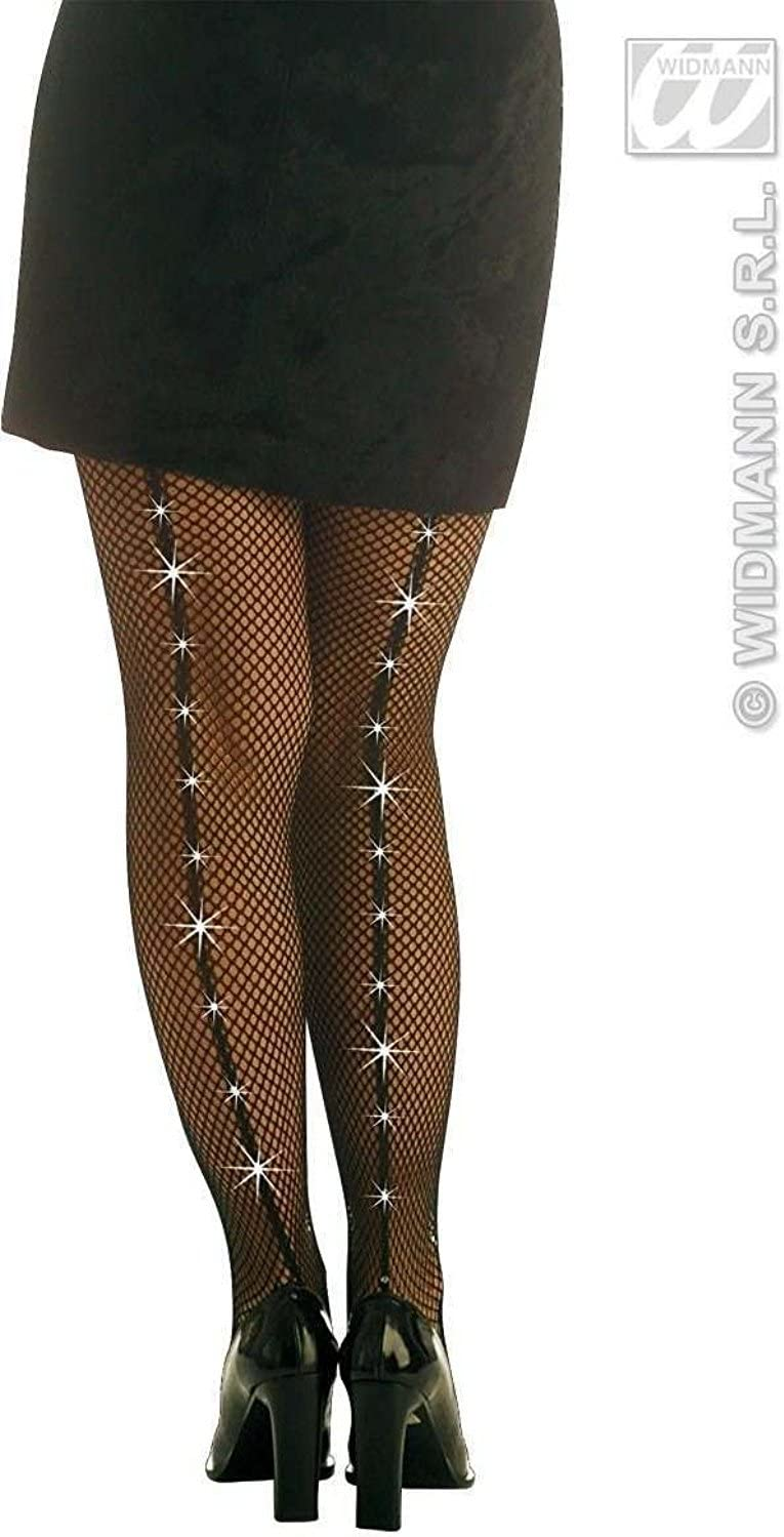 Details about  /NEW Themed   Adult PANTYHOSE RHINESTONE FISHNET BLACK