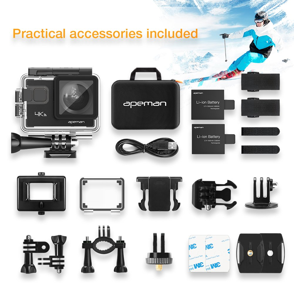 APEMAN Action Camera 4K 20MP WiFi Ultra HD Underwater Waterproof 40M Sports Camcorder with 170 Degree EIS Sony Sensor, 2 Upgraded Batteries, Portable Carrying Bag and 24 Mounting Accessories Kits by APEMAN