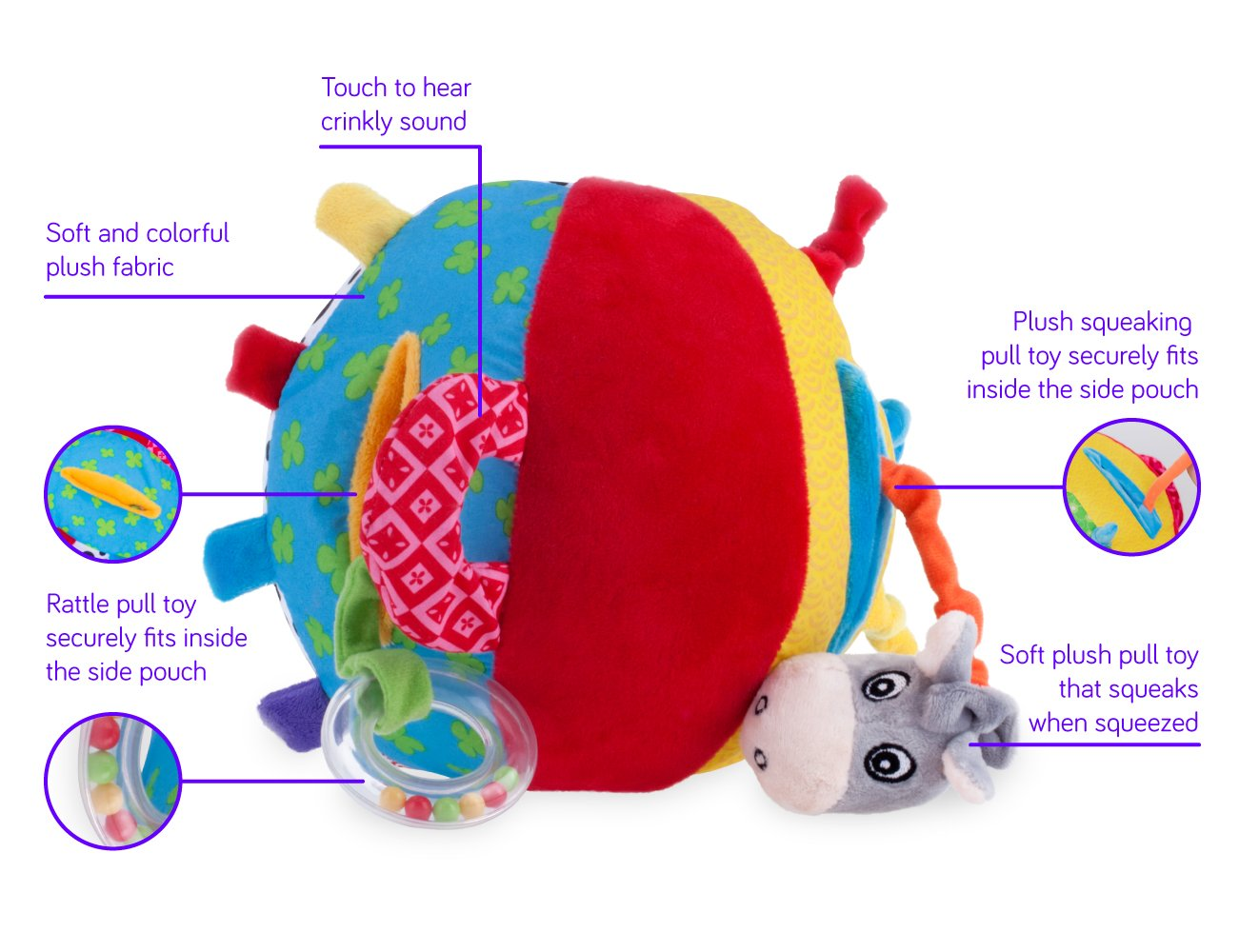 Nuby Squeak Rattle N' Roll Plush Interactive Toy by Nuby (Image #2)