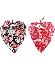 Dog Bandana,EYLEER 2 Pack Floral 100% Cotton Pet Dog Puppy Cat Scarf Triangle Bibs Kerchief Set Pet Costume Accessories Decoration for Medium Large Dogs Cats Pets