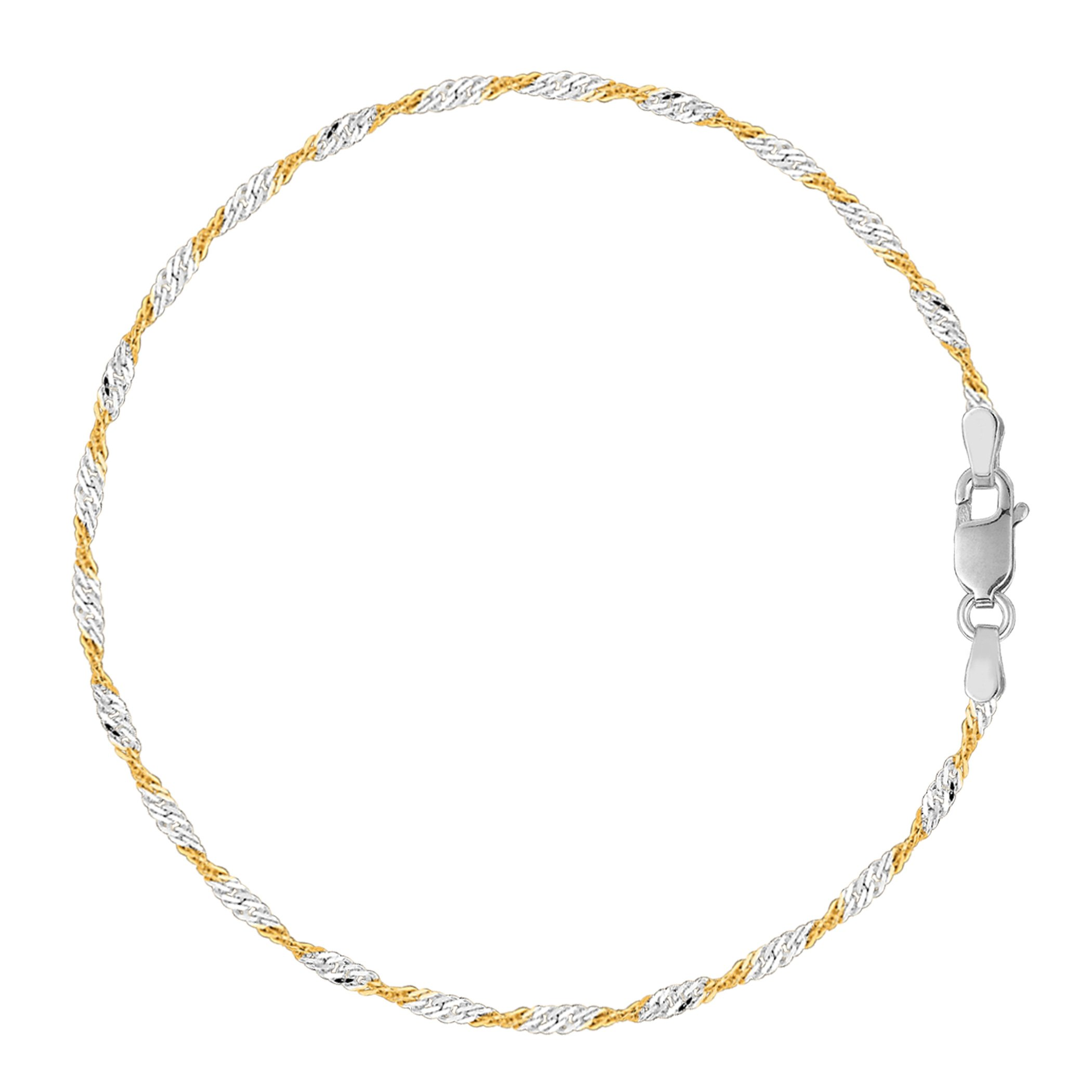 White And Yellow Singapore Style Chain Anklet In Sterling Silver, 9''
