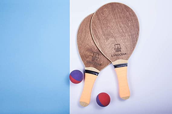 Amazon.com : LIVEOCEAN Beach Tennis Wooden Paddle Ball Set. Frescobol Paddle Ball Set. Beach bat Set. : Sports & Outdoors