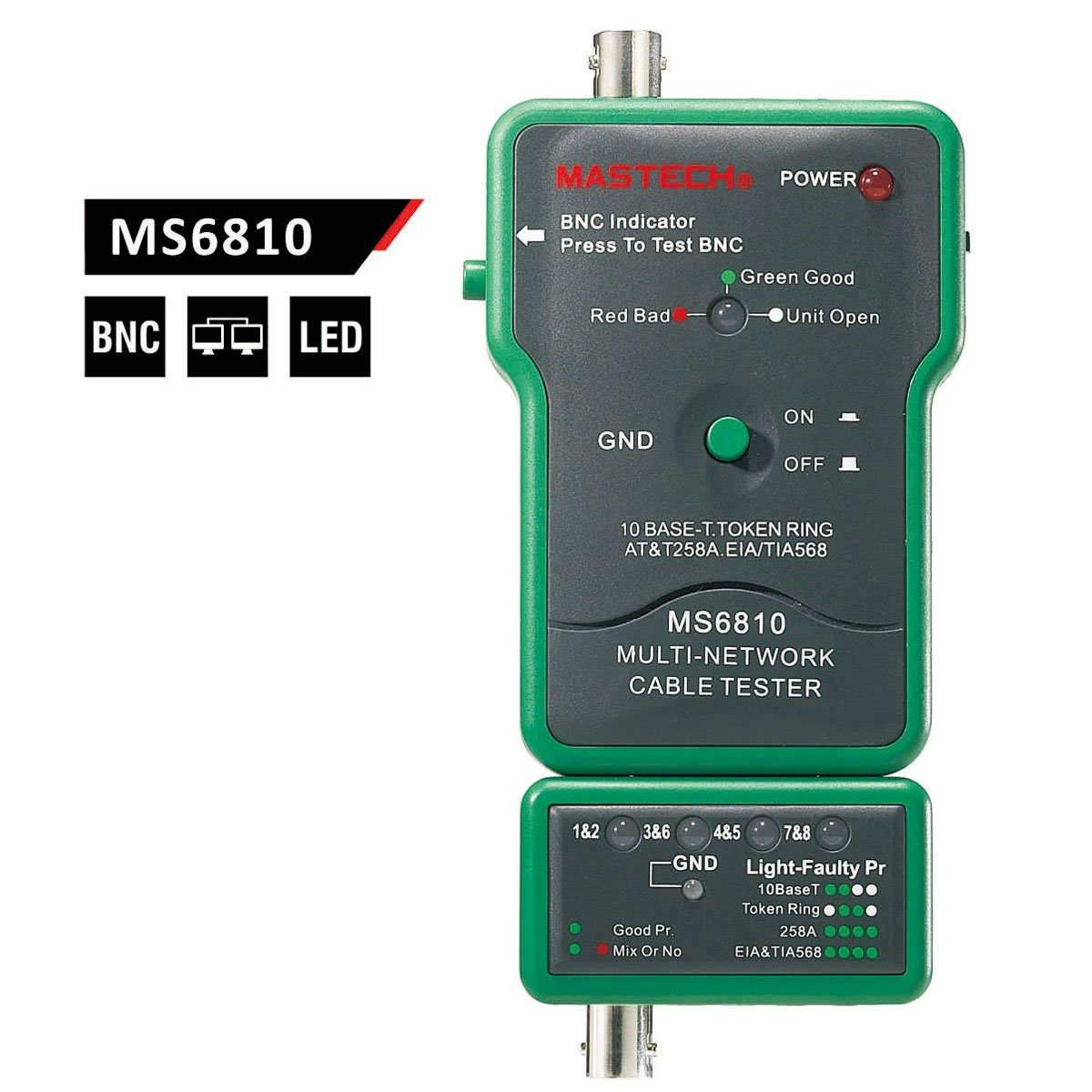 Mastech Ms6810 Multi Network Cable Tester Detector For Simple Circuit Diagram Electronic Circuits Pinterest Coaxial Cablebnc Utp Stp Industrial Scientific