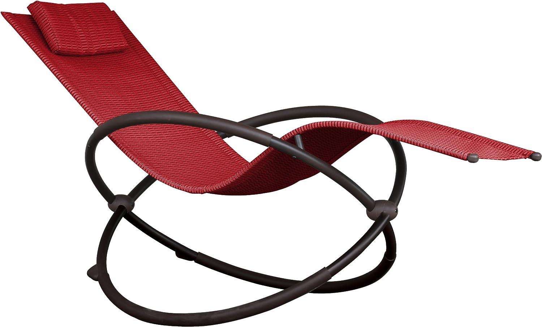 Vivere ORBL1-CR Orbital Lounger, Cherry Red