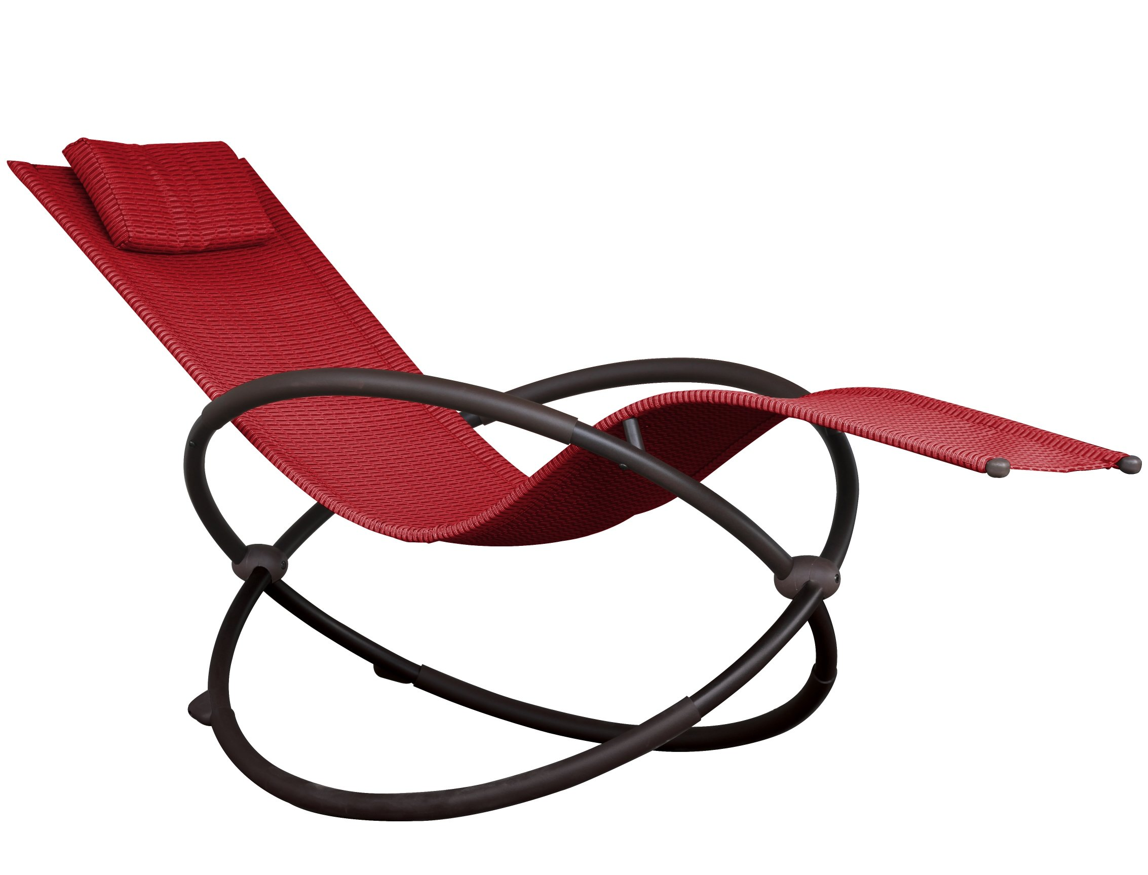 Vivere ORBL1-CR Orbital Lounger, Cherry Red - Ergonomically designed to drastically increase your R&R time Full recline makes sleeping in your bed lose its appeal Acrylic mesh seat that easily shakes off the water - patio-furniture, patio-chairs, patio - 71HNlTRhfVL -