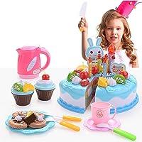 FORMIZON 62 st lekmat leksaker, födelsedagstårta leksaker, gör-det-själv födelsedagsfest tårta dessert med ljus…