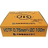 伸興電線 ビニルキャブタイヤ丸型コード VCTF 2芯 0.75SQ 灰 100m