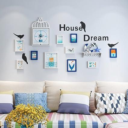 DWW Photo Frame Collage Bedroom Mediterranean Wall Shelf Photo Wall Living Room  Wall Clock Combination