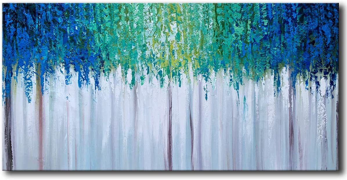 Hand Painted Blue and Teal Textured Tree Artwork Abstract Wall Art Modern Landscape Oil Painting on Canvas