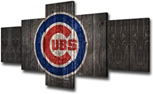 Chicago Cubs Logo Picture for Living Room Profession Baseball Painting on Canvas Native American Sports Wall Art Home Decor Giclee Wooden Framed 5 Piece Ready to Hang Poster and Prints(50Wx24H inches)
