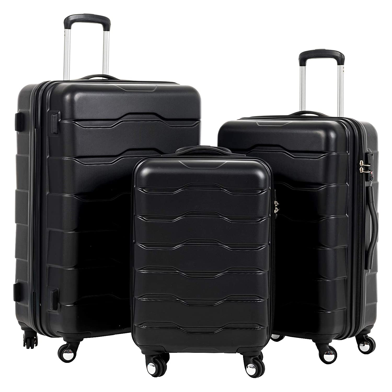 cb738a22f Amazon.com: Murtisol Luggage Sets 3 Piece with TSA Lock Spinner,Trolley  Cases Hardside,Black Suitcases 20