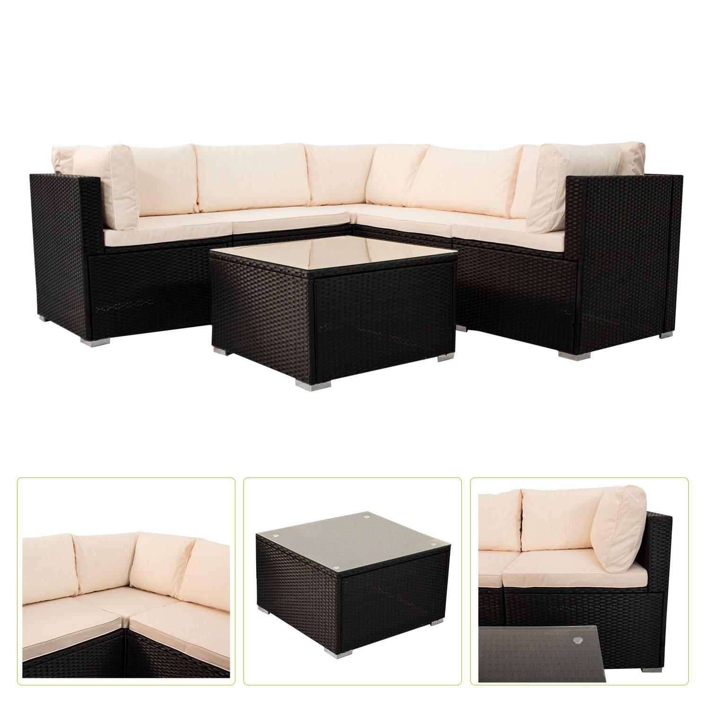 Polyrattan Gartenmöbel Lounge Sitzgruppe Nassau mit Bezügen in Creme ...