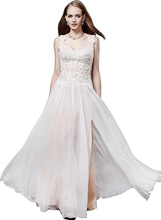 faee64ae218 Josmile Women s V-neck Lace Applique A Line Prom Dresses 2017 long Chiffon  Sleeveless Maxi