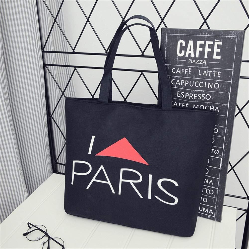 WHXYAA Paris Printed Canvas Bag Shoulder Bag Tote Bag Ladies Large-Capacity Shopping Bag Simple Atmosphere