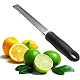 Joyoldelf Multipurpose Stainless Steel Kitchen Cheese Grater & Lemon Zester-Easy To Grate Or Zest Lemon, Orange, Citrus, Cheese, Chocolate, Nuts (Black)