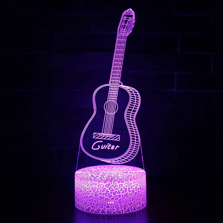 LNLZ Dormitorio de los niños Toque Colorido USB luz nocturnaTouch 3D Control Remoto de la Guitarra Colorida lámpara de Mesa, Guitarra Dragon, ...