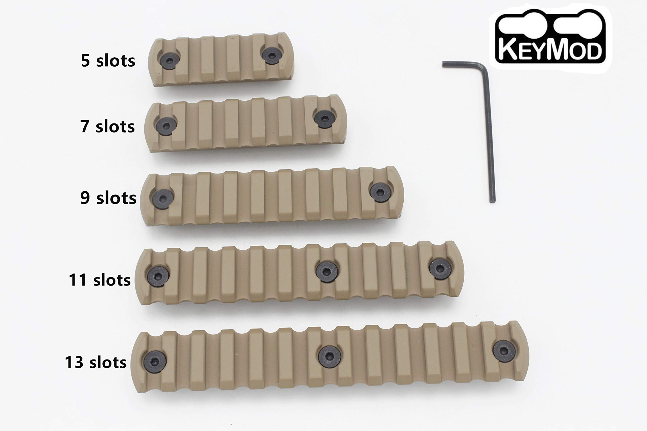 Keymod Picatinny Rail, 5-7-9-11-13Slot Lightweight Aluminum Weaver Rail Section Accessories for Keymod Rail System by Active-8
