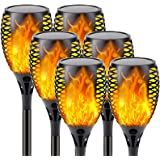 【Upgraded 6-Pack Super Larger Size Solar Flame Torch】Extra-Bright Solar Lights Outdoor Decorative with Flickering Flame, Sola
