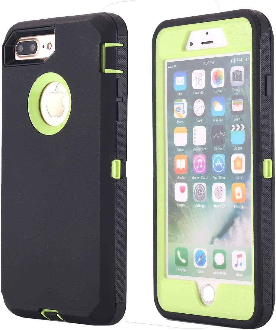iPhone 8 Plus/7 Plus Case, AICase [Heavy Duty] [Full Body] Tough 3 in 1 Rugged Shockproof Water-Resistance Cover for Apple iPhone 8 Plus/7 Plus (Green/Black+Belt Clip)