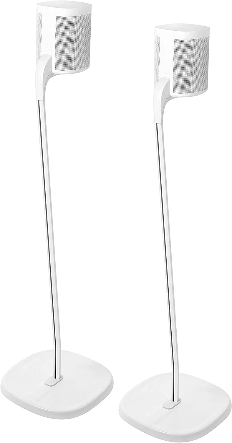 GT STUDIO SONOS Speaker Stands for SONOS One, One SL, PLAY:1, PLAY:3, Premium Design Improves Surround Sound, Heavy Base, Complete Cord Concealment - (Pair, White)