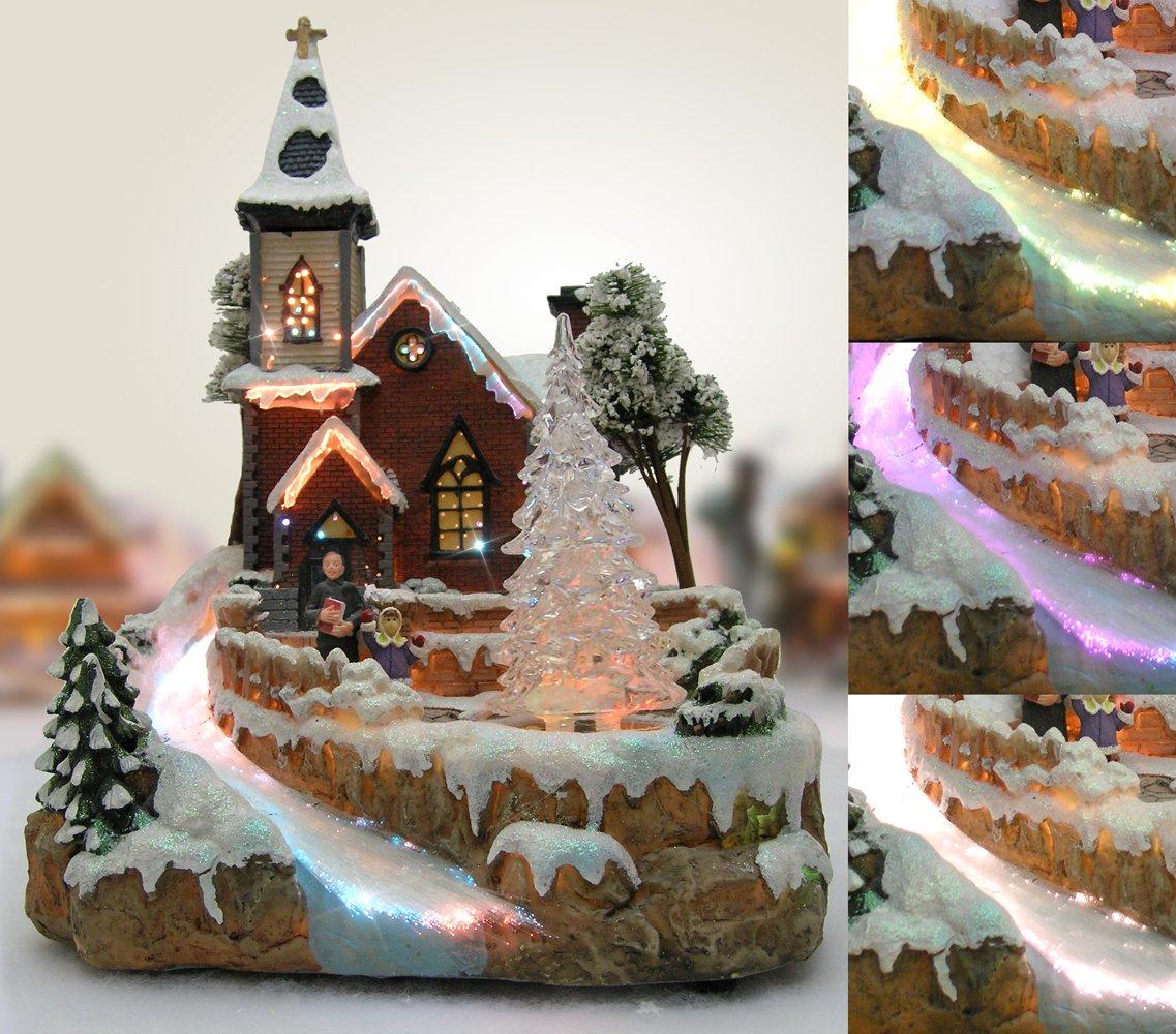 Christmas Snow Village Fiber Optic Church Chapel Winter Collectible