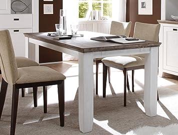 Expendio Esstisch Barnelund 160x90x75 Cm Akazie Weiß Tisch Esszimmertisch  Küchentisch Küche Esszimmer Landhausmöbel