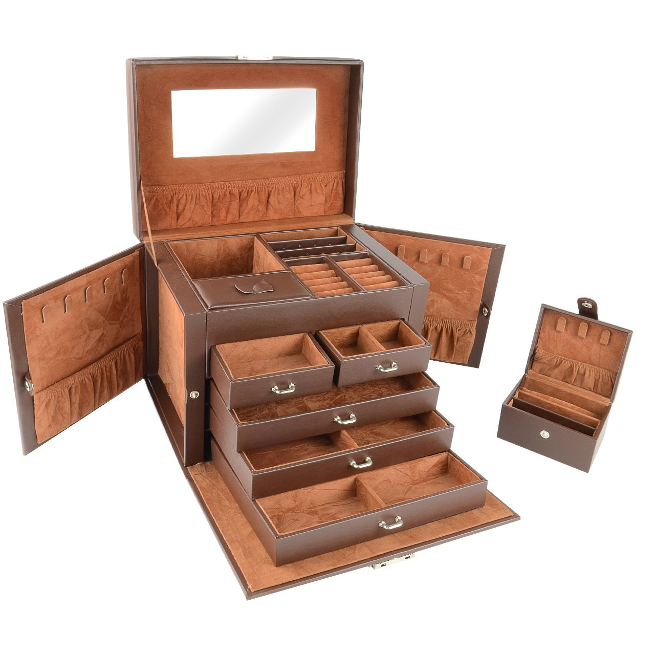 SortWise Lockable Jewelry Box Storage 20 Compartments Large Capacity Multi-Layer Leather Showcase Organizer Case with Travel CASE/Mirror/ 5 Drawer/Key for Studs Earrings Rings Necklace (Brown) SaveOnMany