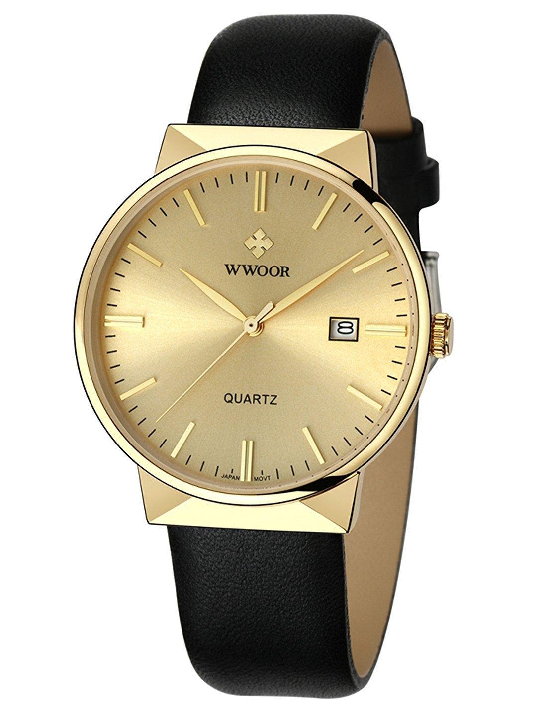 WWOOR超薄型クォーツアナログ30 M防水日付時計ブラックレザーストラップビジネスメンズウォッチ ゴールド B076NP2QXN ゴールド ゴールド