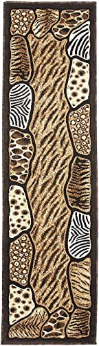 Animal Skin Prints Patchwork Leopard Zebra Rugs 4 Less Collection Area Rug R4L 74 2'4''x10'11''