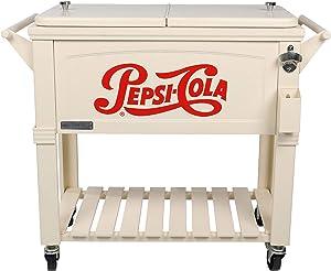 Permasteel PS-203F1-PEPSI-AM 80 Quart Portable Rolling Patio Cooler, Pepsi