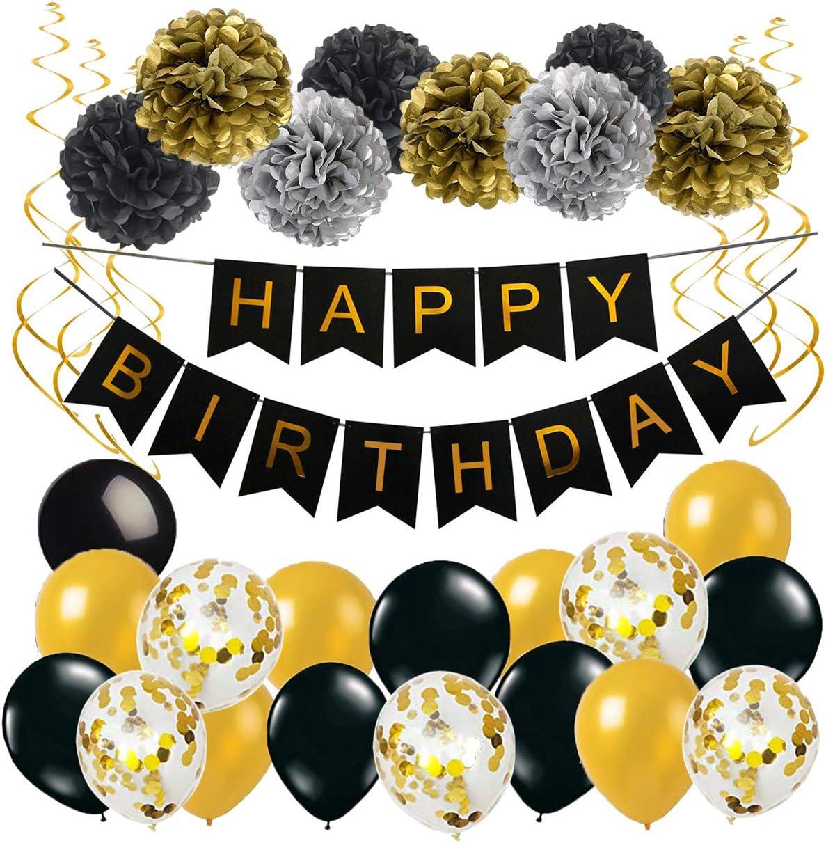 Geburtstag Deko Happy Birthday Girlande Spiralen Deko Pompoms Und Luftballons Gold Schwarz Mit Gold Konfetti Ballons Für Geburtstag Partydeko Set 32 Stück Amazon De Spielzeug