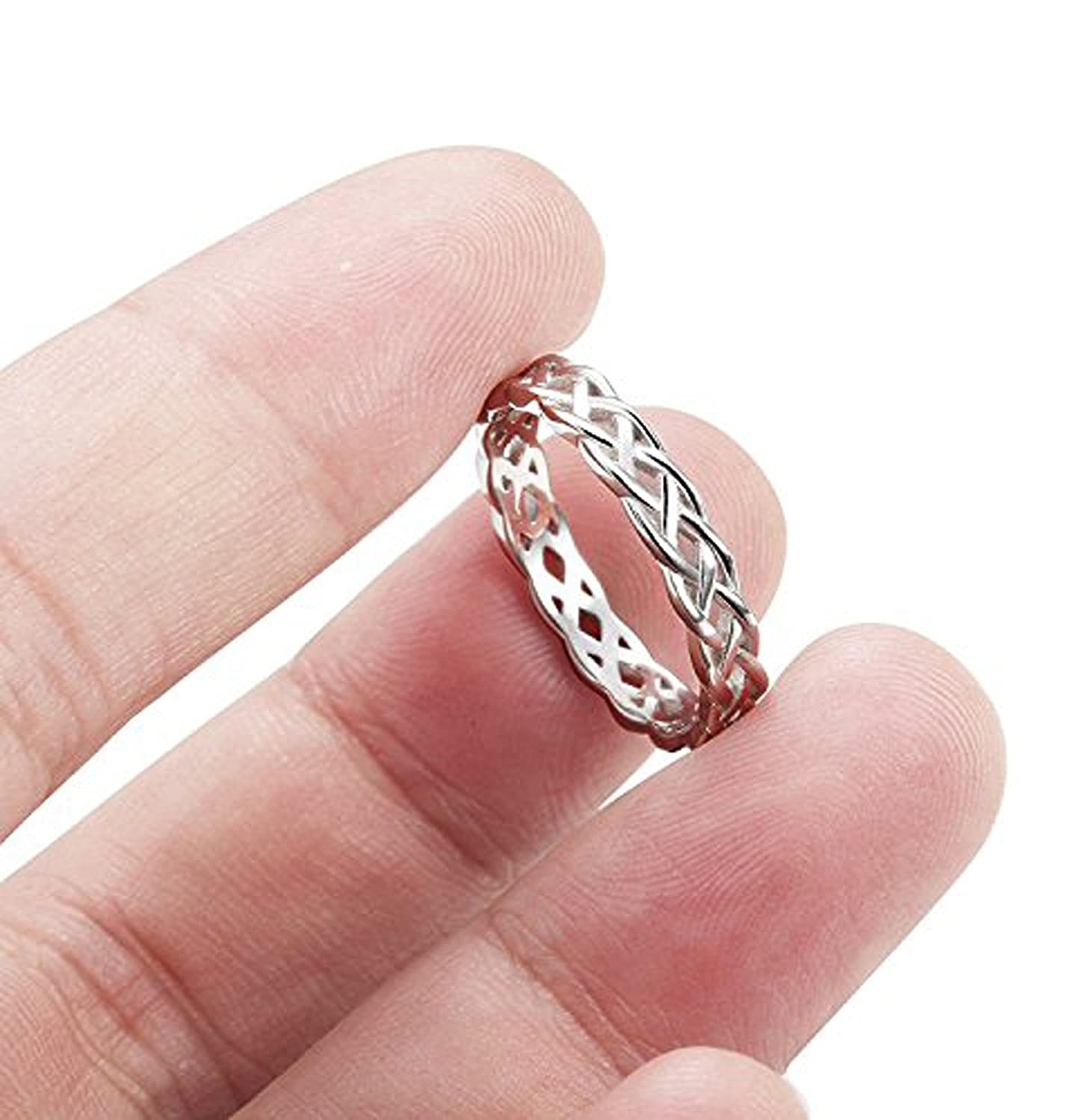 Titaniumcentral 925 Sterling Silver Celtic Knot Eternity Ring Irish ...