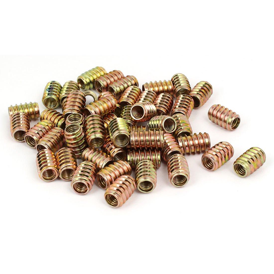 uxcell Wood Furniture M8 x 20mm Insert Fixing Screw E-Nut Bronze Tone 50pcs