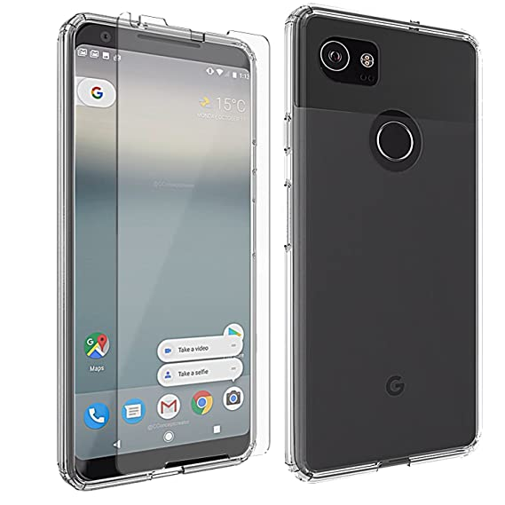 best sneakers 447b3 9788a Google Pixel 2 XL Case & Screen Protector Glass, Clear Protective Kit  Bundled with [Tempered Glass Screen Protector] Rugged Slim Fit Shockproof  Bumper ...