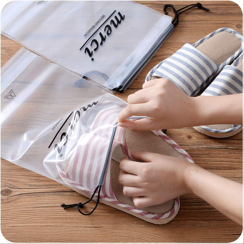 Jaminy 5pcs Thicken Clear Drawstring Waterproof Travel Storage Bag Boots Shoes Holder