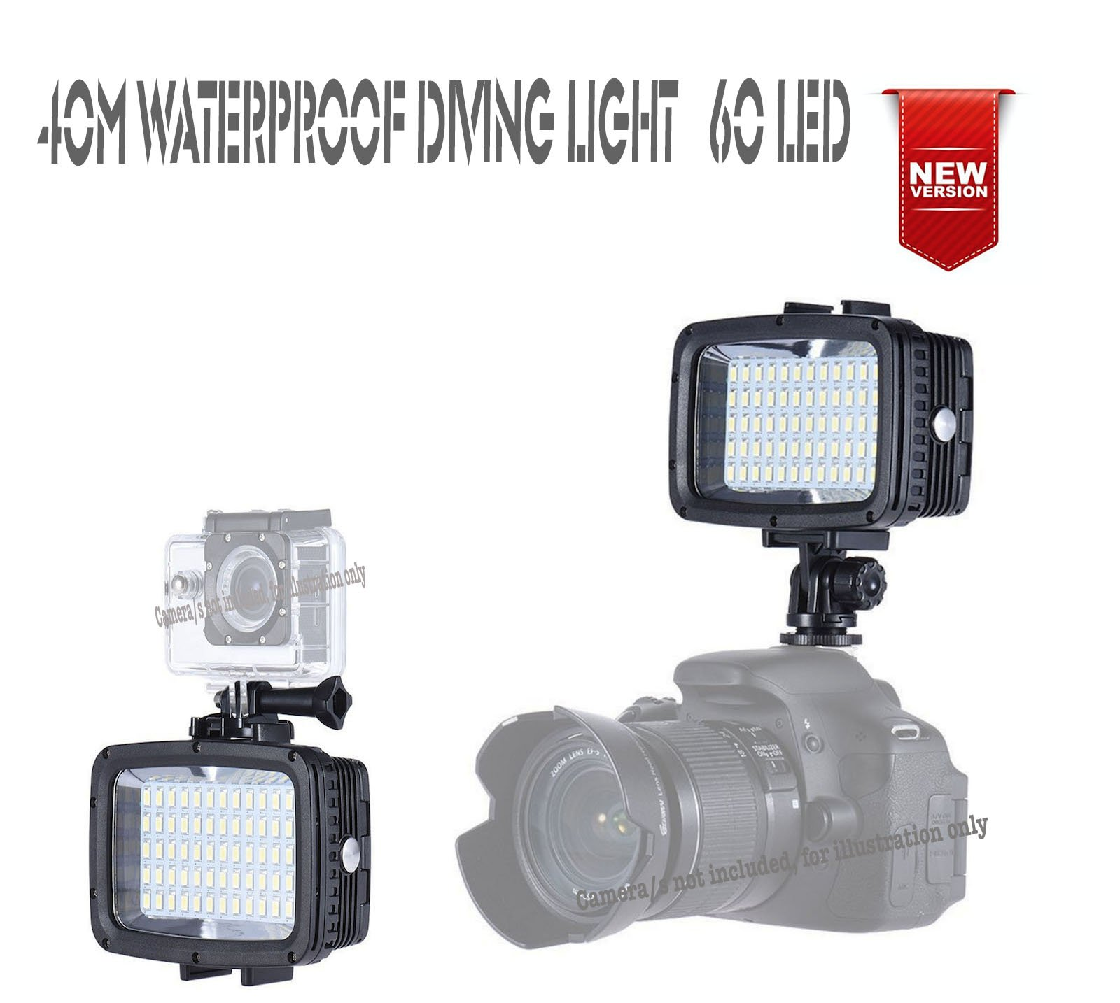 Casewarehouse Waterproof LED Video Light 40m Diving Fill-in Light Ultra Bright 1800Lm 60-LED 5500K 12W 3-Modes w/2x18650 Battery Studio Lamp for GoPro Action Camera Sony Canon DSLR Cameras (60LED)
