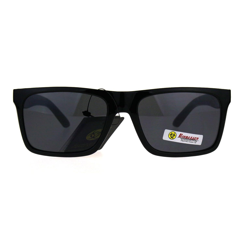 f2a141ff38d Amazon.com  Biohazard Mens Narrow Rectangle Horn Rim Plastic Skater Shade Sunglasses  All Black  Clothing
