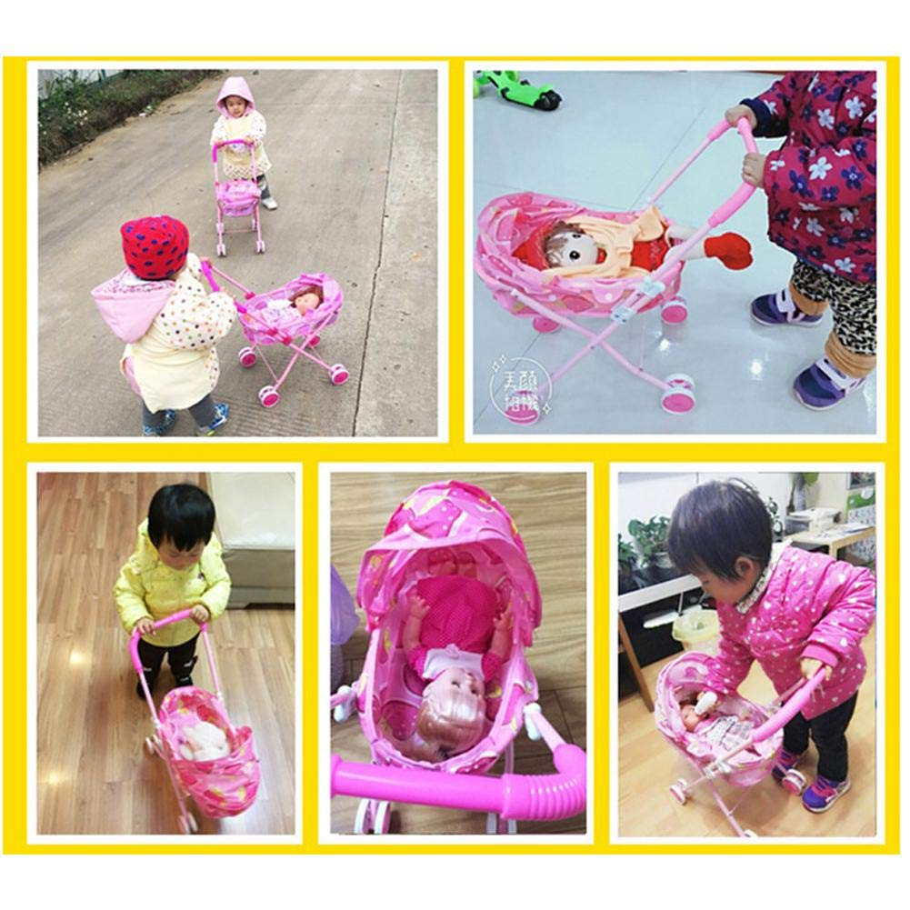 TODAYTOP Childrens Toy Cart Doll Outdoor Baby Buggy Pram Infant Push Cart Pushchair Dolls Trolley Kids Pretend Play Toys