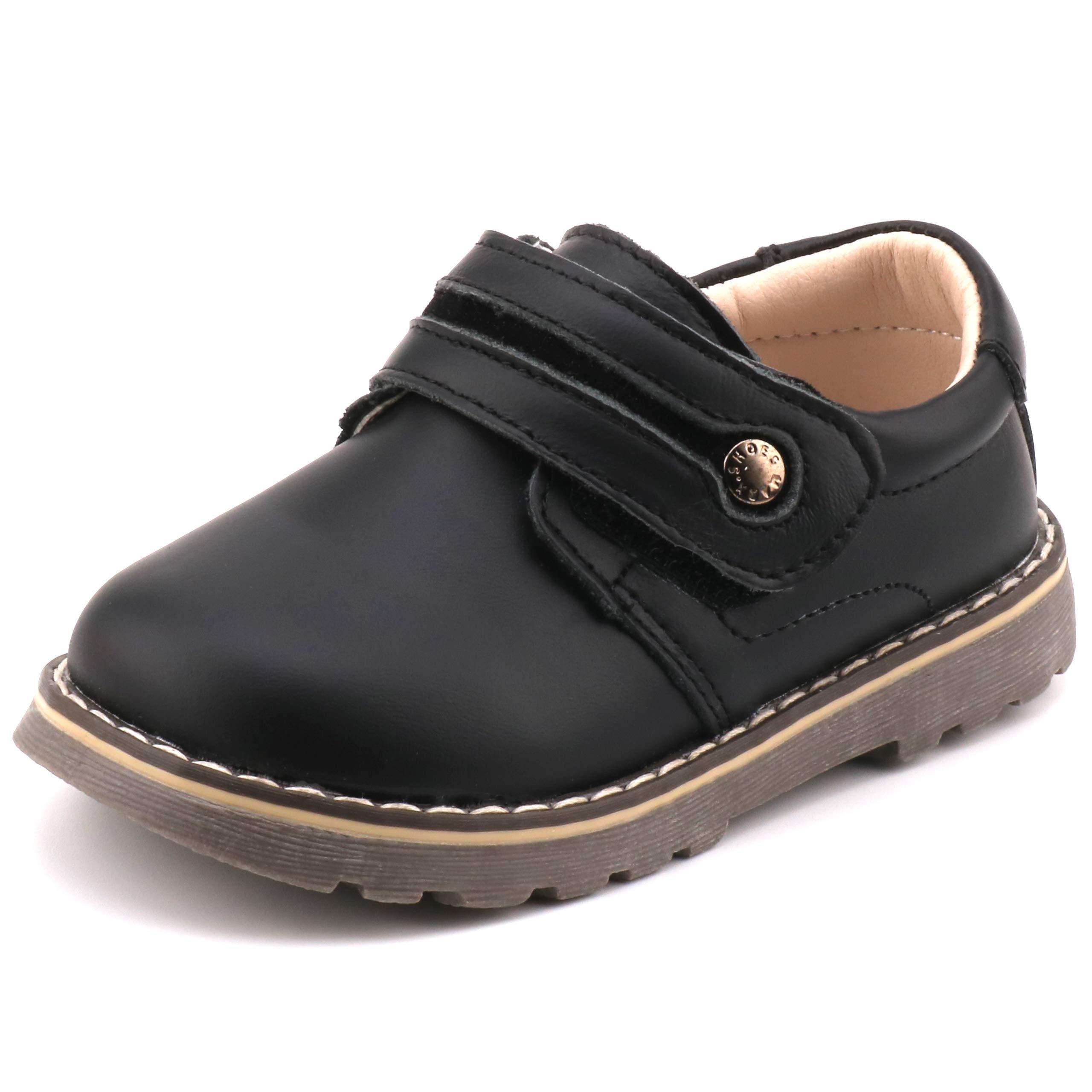 Femizee Toddler Boys Leather Loafers Comfort Uniform Oxford Dress Wedding Shoes, Black, 1327 CN23